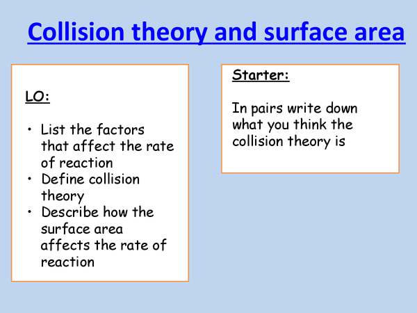 Preview of collision theary and surface area