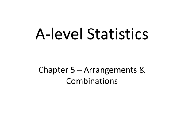 Preview of Combinations and Permutations S1 OCR Stats