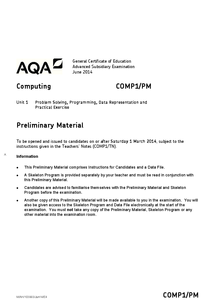 Preview of COMP1 Preliminary Materials June 2014