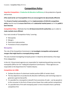 Preview of Competition Policy - Unit 3 (AQA)