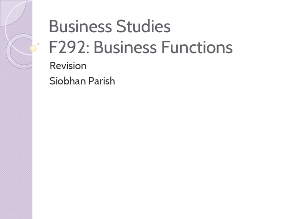 Preview of Complete F292 revision powerpoint OCR Business Studies AS