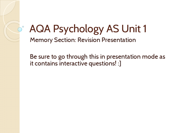Preview of Complete Memory Revision: PSY AS UNIT 1