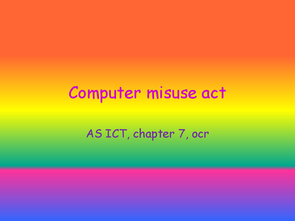 Preview of computer misuse act