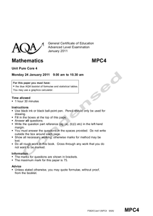 Preview of Condensed AQA Core 4 Jan 2011 Paper