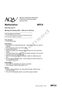 Preview of Condensed AQA Core 4 Jan 2012 Paper
