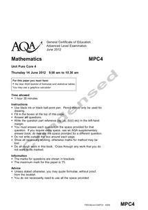 Preview of Condensed AQA Core 4 June 2012 Paper