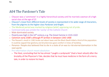 Preview of Context (A04) on Doctor Faustus The Pardoner's Tale and Othello