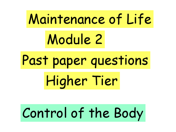 Preview of Control, exam paper, maintenance of life