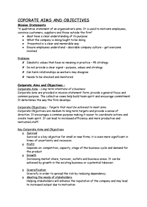 Preview of BUSS4-Coporate Aims and Objectives Notes