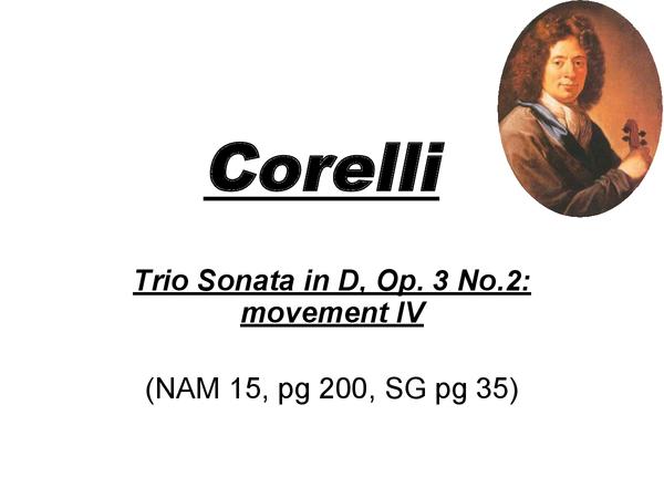 Preview of Corelli - Trio Sonata in D, Op. 3 No. 2: movement IV