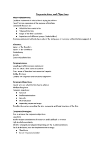 Preview of Corporate Aims and Objectives; Unit 4 - Notes