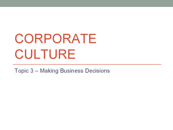Preview of Corporate Culture