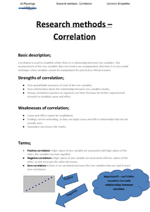 Preview of Correlation research method summery sheet