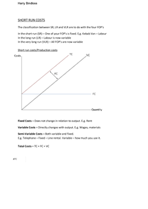 Preview of Costs in the Short Run - Edexcel Unit 3