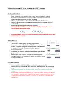 Preview of Cracking, Polymers & The Production of Ethanol - C1.5 Core Chemistry AQA