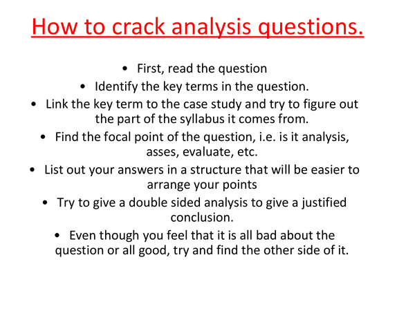 Preview of cracking analysis and evaluation questions