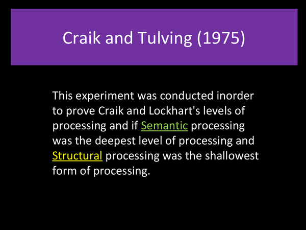 Preview of Craik and Tulving 1975