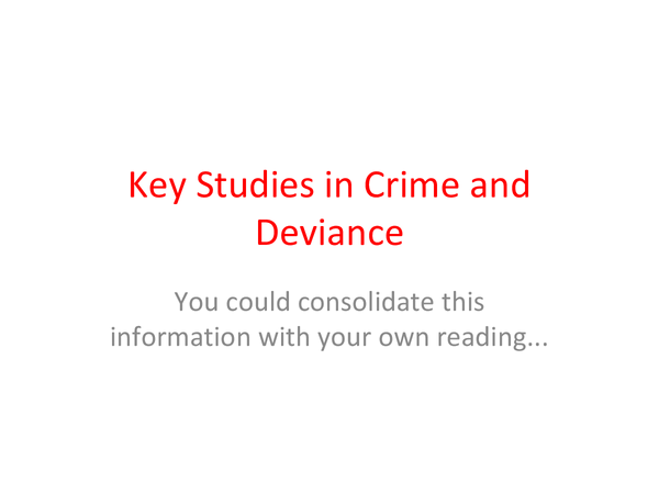 Preview of Crime and Deviance Key Study ppt