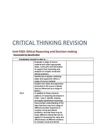 Preview of Critical Thinking unit 3 Notes