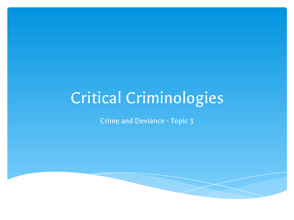 Preview of Critical Criminologies