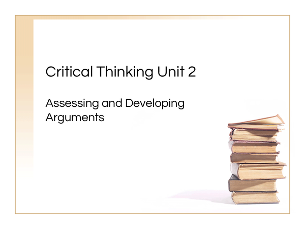 Preview of Critical Thinking Unit 2