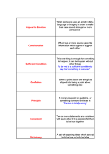 Preview of Critical Thinking Unit 2 Key Term Match Cards