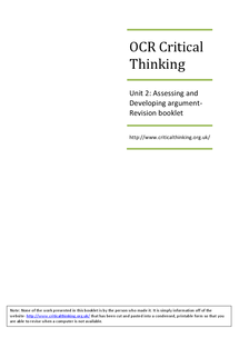 Preview of Critical Thinking Unit 2 Revision Booklet (OCR)- Updated PDF format