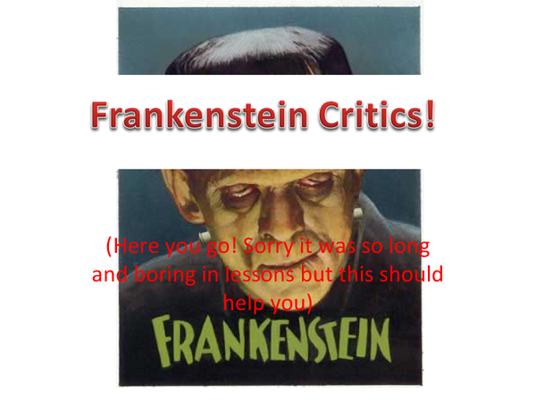 Preview of Critics for Frankenstein by Mary Shelley