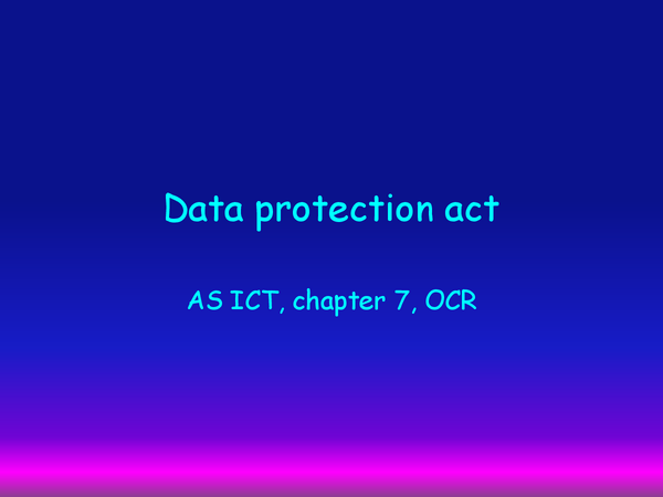Preview of Data protection act