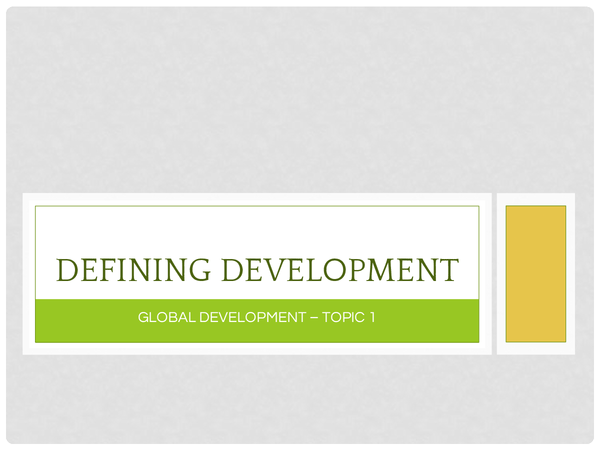 Preview of Defining Development