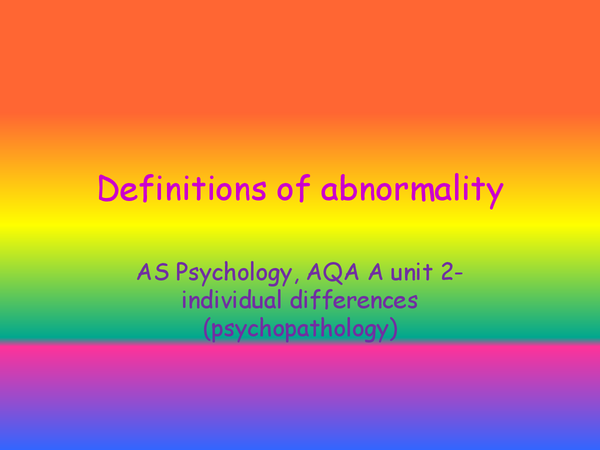 Preview of definitions of abnormality