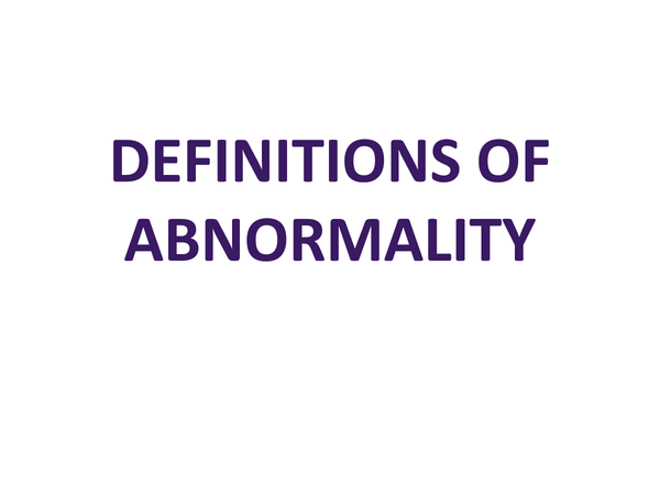 Preview of DEFINITIONS OF ABNORMALITY.