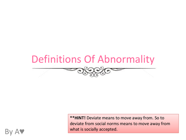 Preview of Definitions of Abnormality| AQA
