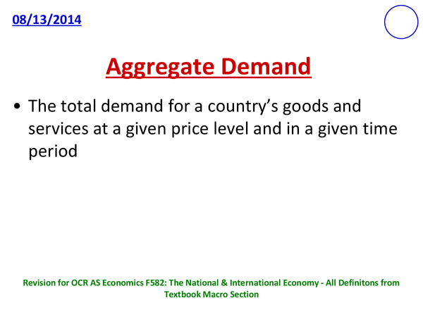 Preview of Definitons - OCR AS F582: The National & International Economy