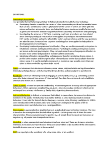 Preview of Defintions for Criminological Psychology