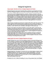 Preview of Delegated Legislation