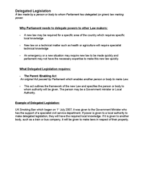 Preview of DELEGATED LEGISLATION LAW AS