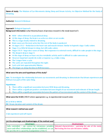 Preview of Dement and Kleitman Summary Sheet