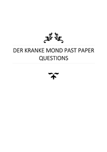 Preview of Der Kranke Mond - Schoenburg, Past Paper Questions