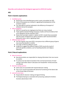 Preview of Describe and evaluate the biological approach to OCD 12 mark essay plan