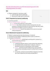 Preview of Describe and evaluate the use of the behavioural approach to the treatment of phobias 12 mark essay plan