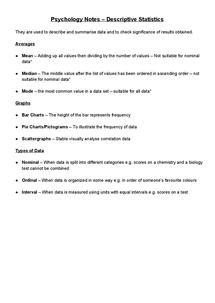 Preview of Descriptive Statistics Notes - AS OCR Psychology Unit 1