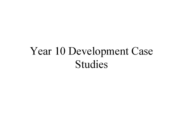 Preview of Development case studies