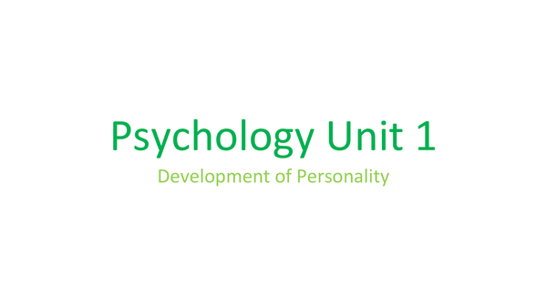 Preview of Development of Personality