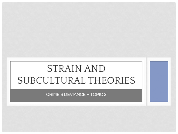Preview of Strain and Subcultural Theories