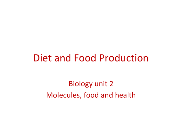 Preview of Diet & Food Production