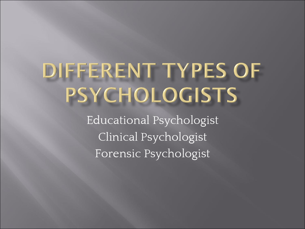 Preview of Different types of Psychologists - Edexcel GCSE