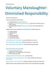 Preview of Diminished Responsibility Manslaughter