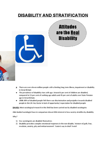 Preview of Disablity notes for AQA A2 socio