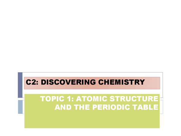 Preview of Discovering Chemistry: Atomic Structure and the Periodic Table